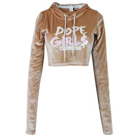741e0dd287 Hood Goodie - Hood Goodie Women's Panne Velvet Low Cut Hooded Long Sleeve  Top Sand - Walmart.com