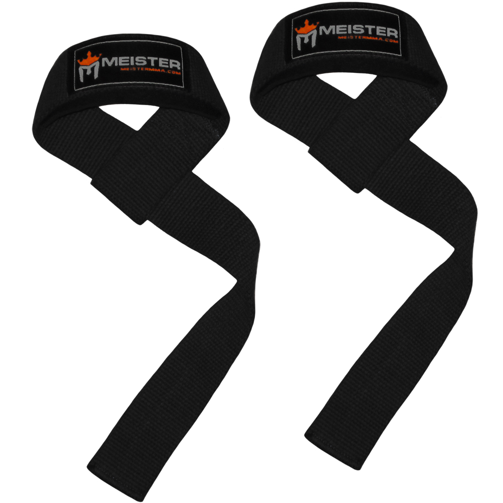 Meister Neoprene-Padded Weight Lifting Straps (Pair) - Black