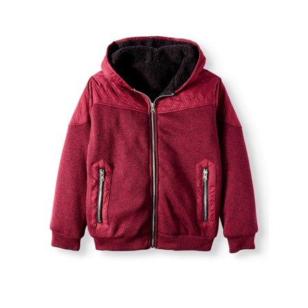 Bocini Sherpa Jacket with Nylon Yoke (Little Boys & Big Boys) - Boy Leather Jacket