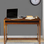 Folding Desk with Pull-Out & USB Port-Warm Brown
