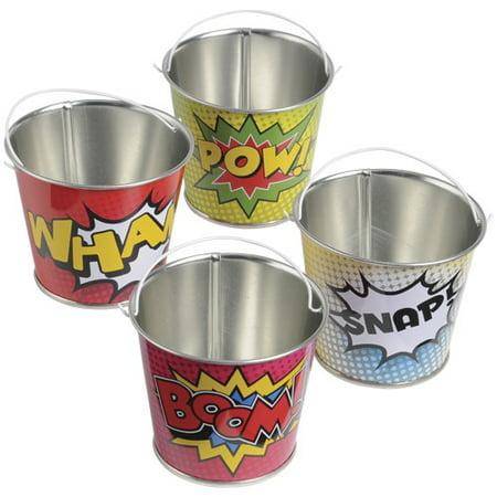 (Price/Dozen)US TOY TU242 Superhero Mini Buckets (Superhero Themed Parties)