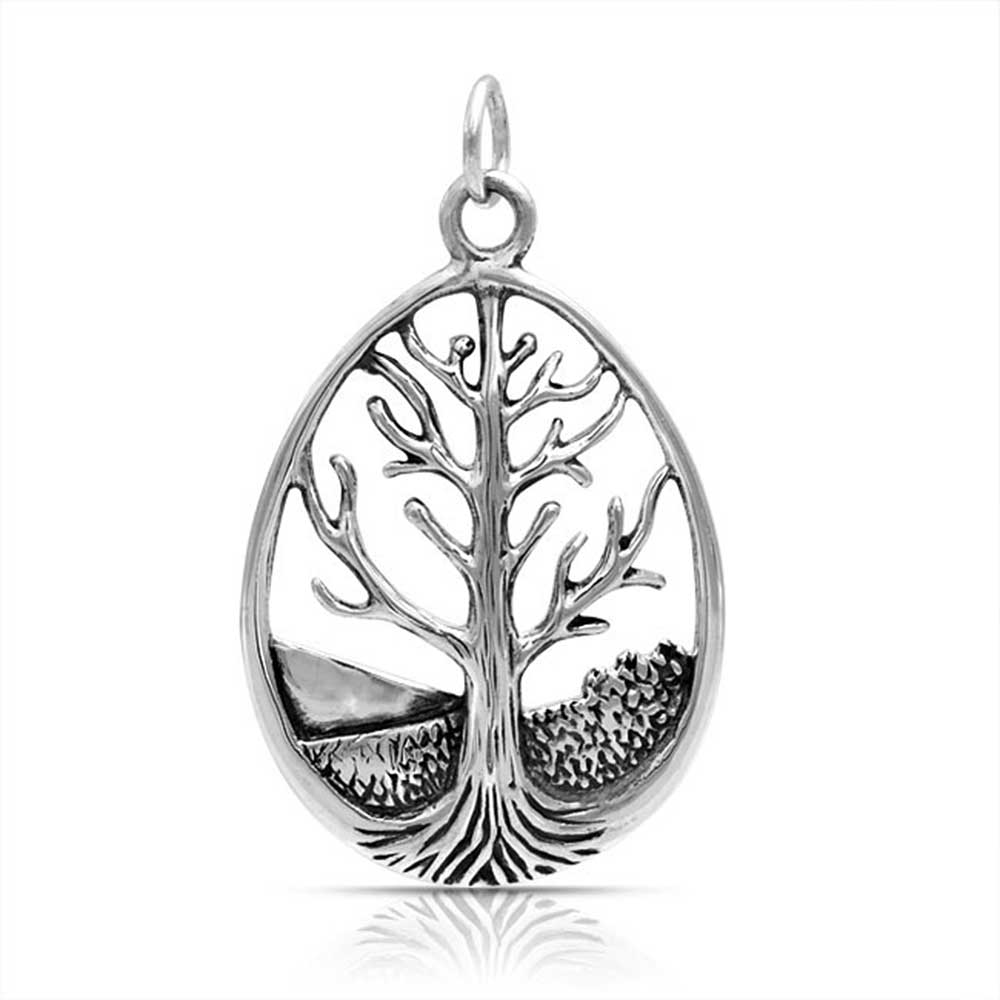Bling Jewelry Antique Styled Oval Nature Tree of Life Pendant 925 Silver