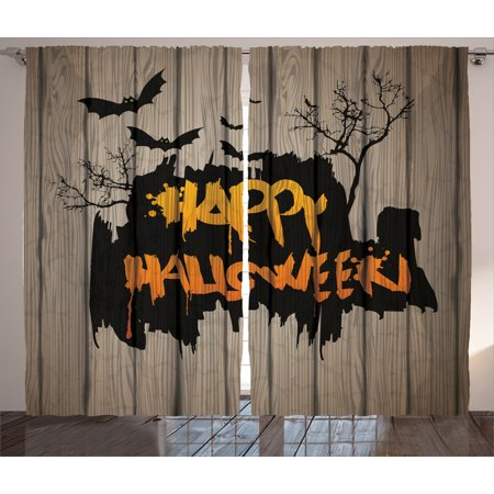 Halloween Decorations Curtains 2 Panels Set, Happy Graffiti Style Lettering on Rustic Wooden Fence Scary Evil Artwork, Window Drapes for Living Room Bedroom, 108W X 84L Inches, Multi, by Ambesonne