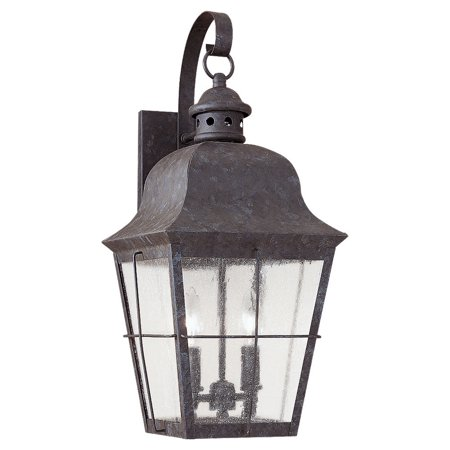 Image of Sea Gull Lighting 8463 Oxidized Bronze Colonial Styling 2 Light Outdoor Lantern Wall