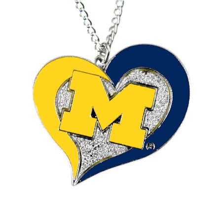 NCAA Michigan Sports Team Logo Swirl Heart Necklace Profile Logo Heart Pendant