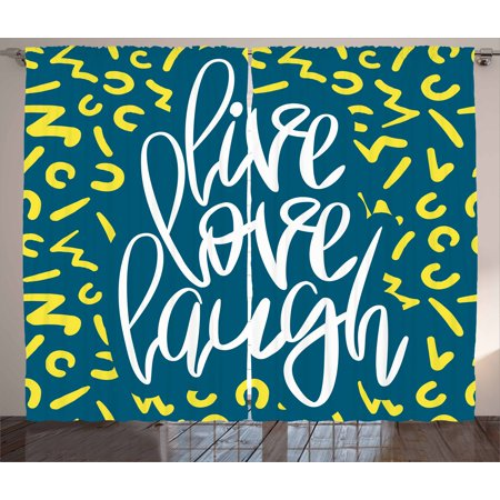 Live Laugh Love Curtains 2 Panels Set  Romantic Ornate Poster Design With An Inspirational Saying  Window Drapes For Living Room Bedroom  108W X 96L Inches  Violet Blue White Yellow  By Ambesonne