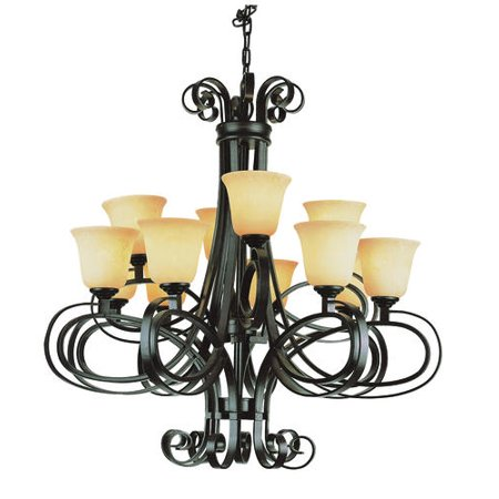 Bel Air Lighting Rollie 33 12 Light Dark Bronze Chandelier