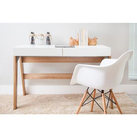 TrendLine Hanover/ Off-white 2-drawer Home Office Desk