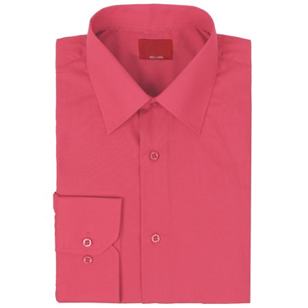 vkwear Red Label Men's Slim Stretch Muscle Fit Long Sleeve Solid Dress Shirt (Coral, 3XL) Stretch Dress Skirt