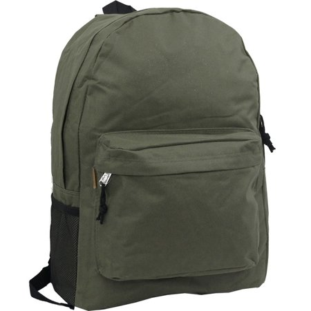 Backpack 18 inch Padded Back School Day Pack Classic Book Bag Mesh Pocket Olive ()