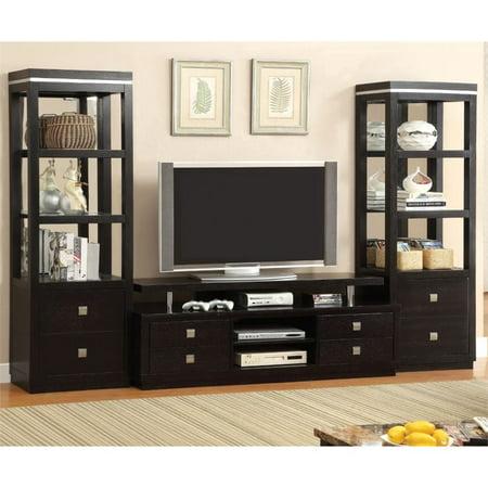 Furniture of America Mixon 3-Piece Entertainment Center Set in Black ()