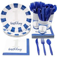 Serves 24 Boys 1st First Birthday Party Supplies, 144PCS Plates Napkins Cups Knives Spoons Forks, Favors Decorations Disposable Paper Tableware Dinnerware Kit Set Bulk for Baby Boys Girls Kids
