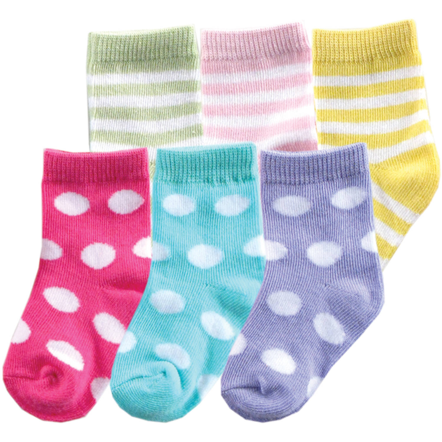 Luvable Friends Newborn Baby Girls Fun Stripe Combo Socks 6-Pack