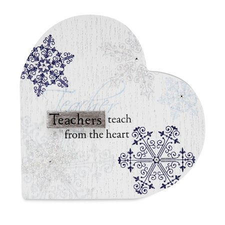 Mark My Words by Pavilion Teacher 3 by 3-Inch Self Standing Holiday Plaque, Saying teachers teach from the heart By Pavilion Gift Cutie Patootie - Halloween Sayings For Teacher Gifts