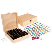 Wood Essential Oil Box Organizer - Holds 52 (5-15 ml) & 6 (10ml Roll-On) Essential Oil Bottles - Includes Labels, Bottle Opener Tool, and Pipettes