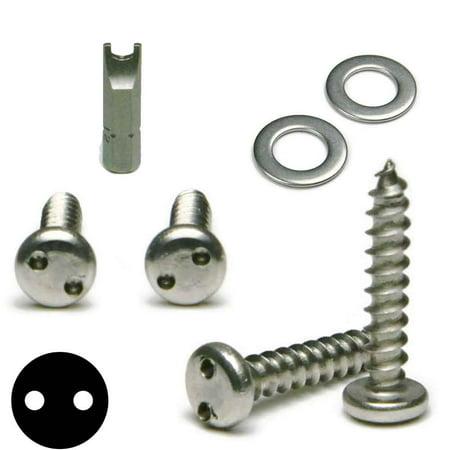 Stainless Steel Anti Theft License Plate Screws Tamper Proof Kit - Spanner Pan Head Sheet Metal Screws