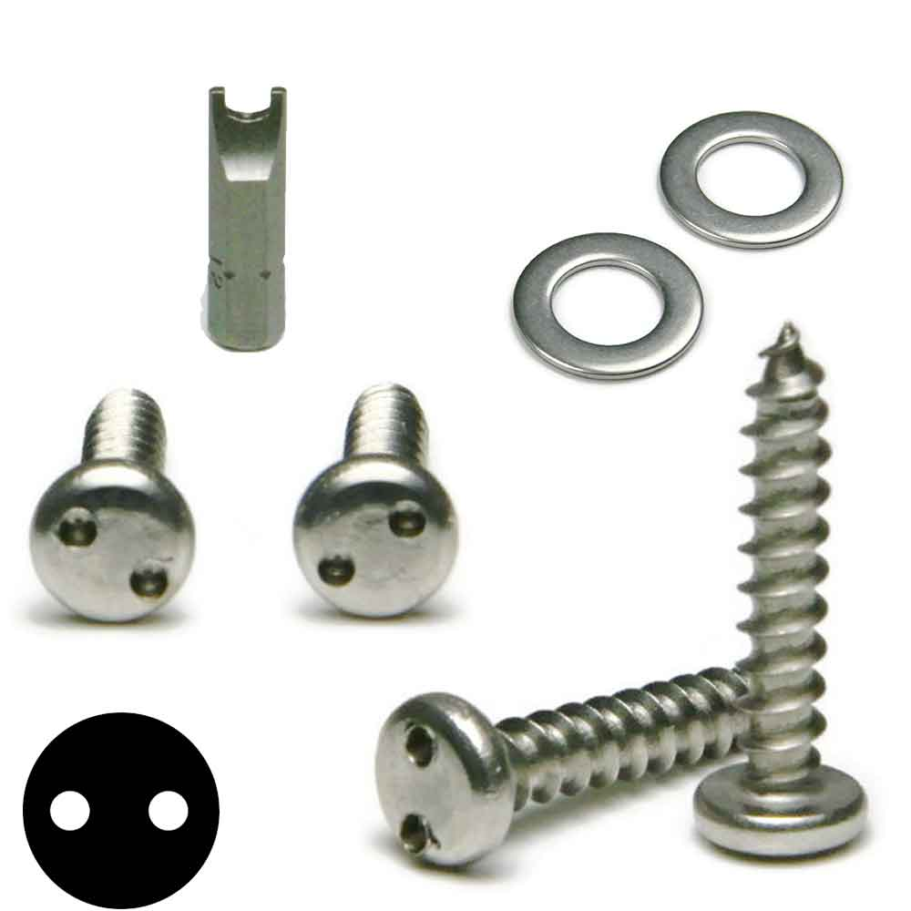 Stainless Steel Anti Theft License Plate Screws Tamper Proof Kit - Spanner Pan Head Sheet Metal Screws