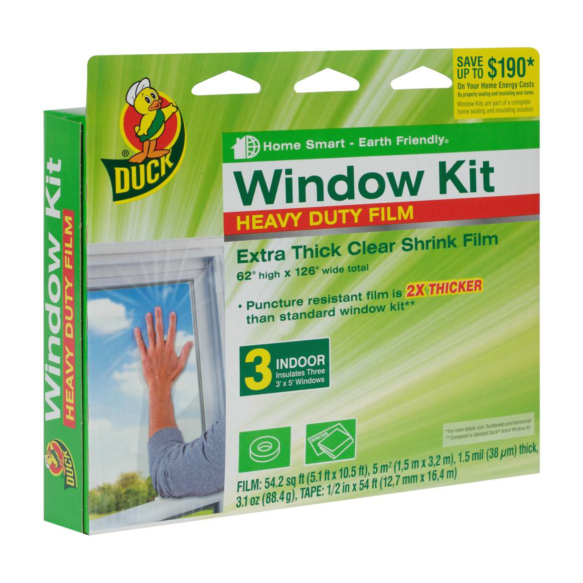 Duck MAX Heavy-Duty Shrink Film Window Kit, Indoor, 3 Pack