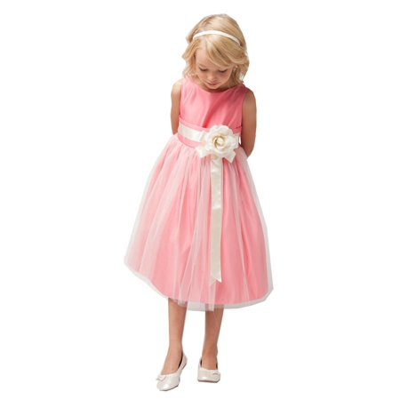 Sweet Kids Girls Coral Ivory Floral Accent Junior Bridesmaid Dress 7-12](Sweet Dresses For Girls)