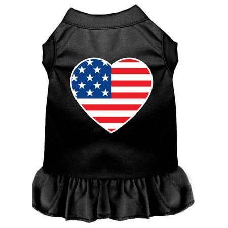 American Flag Heart Screen Print Dress Black Sm (10)