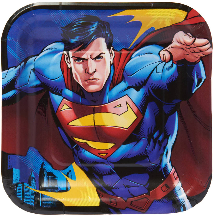 """Superman 7"""" Square Plate, 8 Count, Party Supplies"""