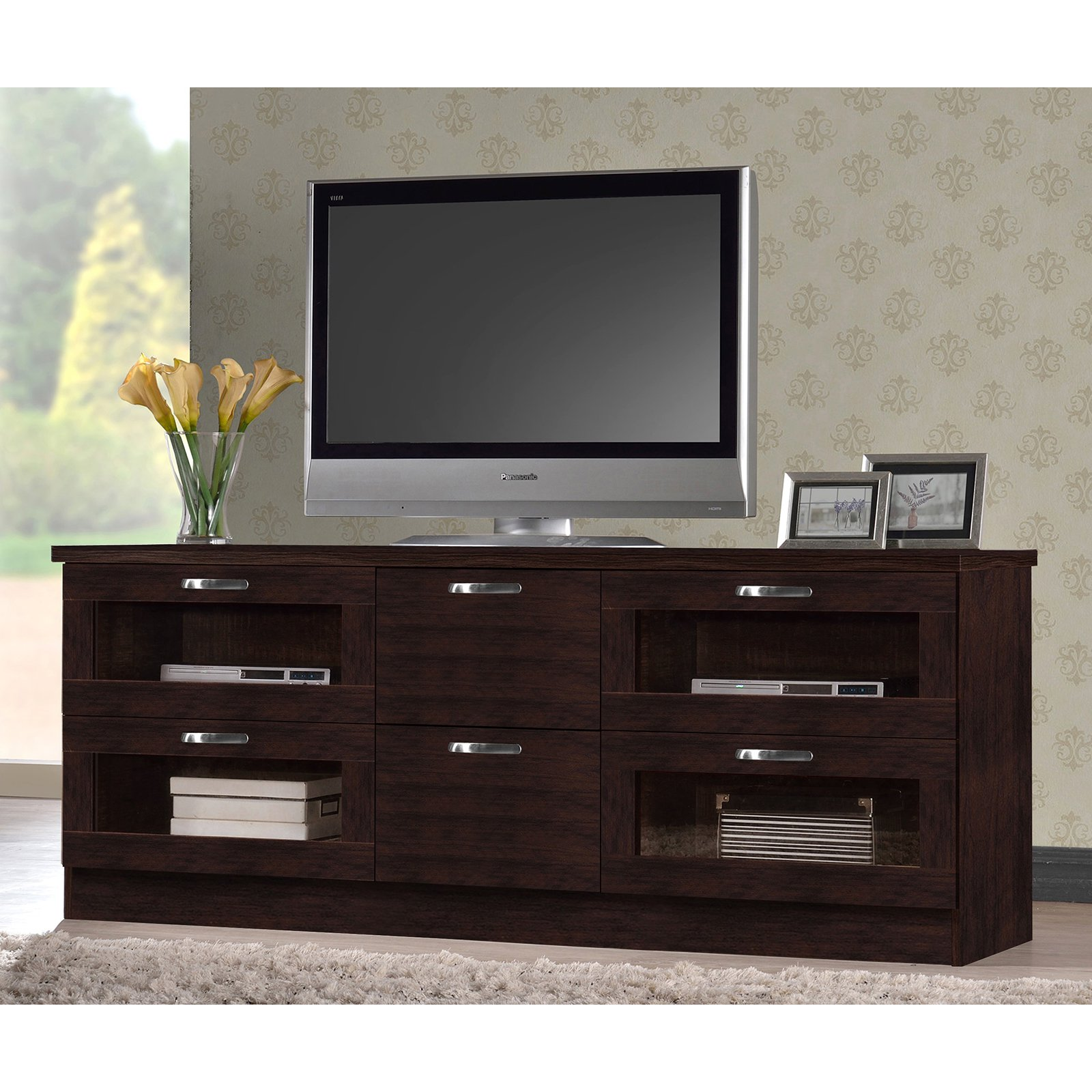 Baxton Studio Adelino 63 Inches Dark Brown Wood TV Cabinet with 4 Glass Doors and 2 Drawers