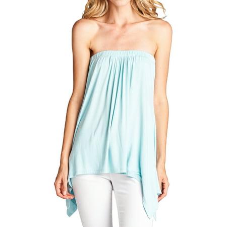 88dcdcf971a Loving People Handkerchief Asymmetrical Hem Tube Top Flared Loose Fit  Strapless Tunic Shirt
