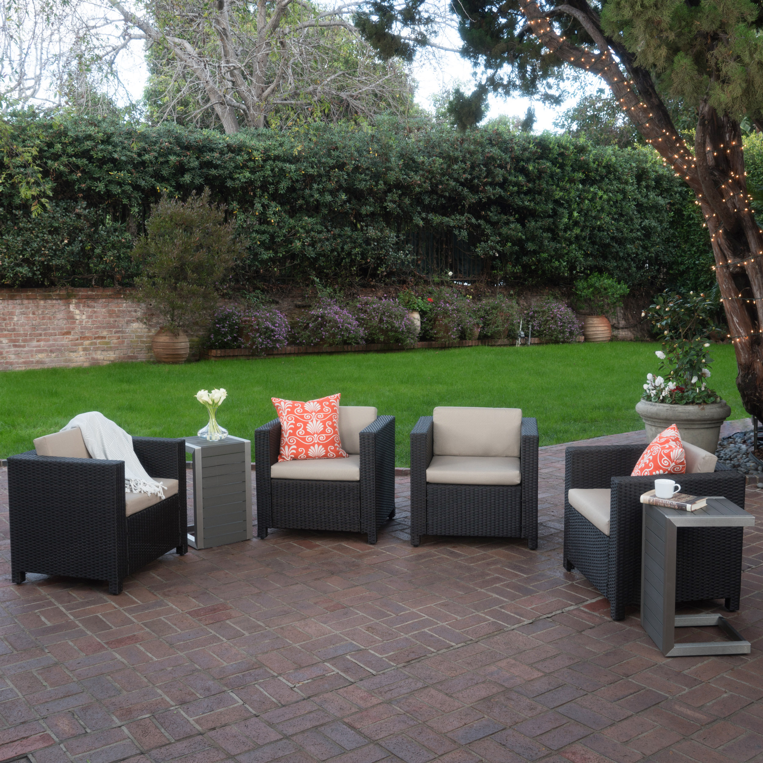 Cascada Outdoor 4 Piece Wicker Club Chairs with Cushions and 2 Natural Finish Polymer Blended Wood C-Shaped Tables, Dark Brown, Beige