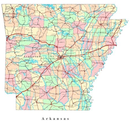 Laminated Poster Arkansas State Road Map County City Poster Print 24 x (Arkansas Antique Map)
