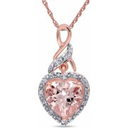 1-3/4 Carat T.G.W. Morganite and Diamond-Accent 10kt Rose Gold Infinity Heart Women's Pendant Necklace, 17