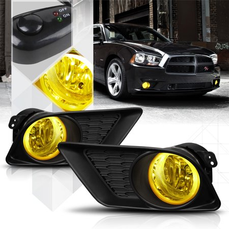 Yellow Lens Fog Light Bumper Lamp w/Switch+Harness+Bezel for 11-14 Dodge Charger 12 13