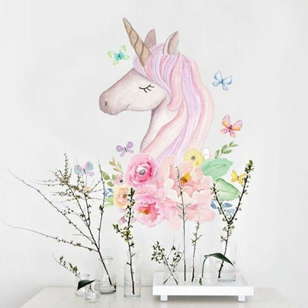 - TURNTABLE LAB Pink Unicorn Flower Vinyl Wall Sticker Living Room Home Kids Nursery Mural Decor