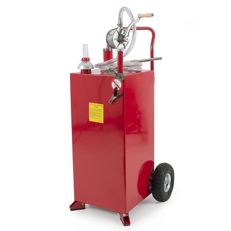Arksen 30 Gallon Portable Fuel Transfer Gas Can Caddy Storage Tank - Red ()