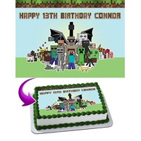 Minecraft Personalized Cake Toppers Edible Frosting Photo Icing Sugar Paper A4 Sheet 1/4 Blocks
