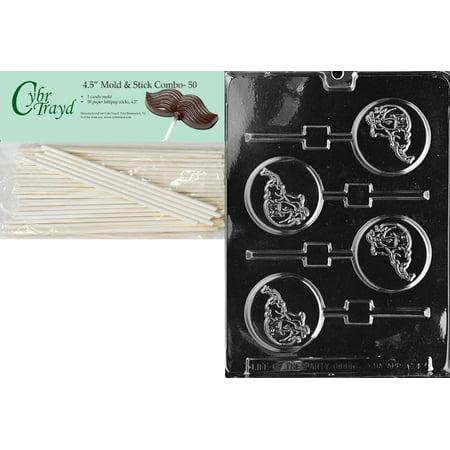Cybrtrayd 45St50-A092 GOP Elephant Lolly Animal Chocolate Candy Mold with 50 4.5-Inch Lollipop - Gop Elephant