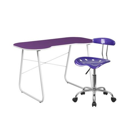 Flash Furniture Computer Desk and Tractor Chair in Purple