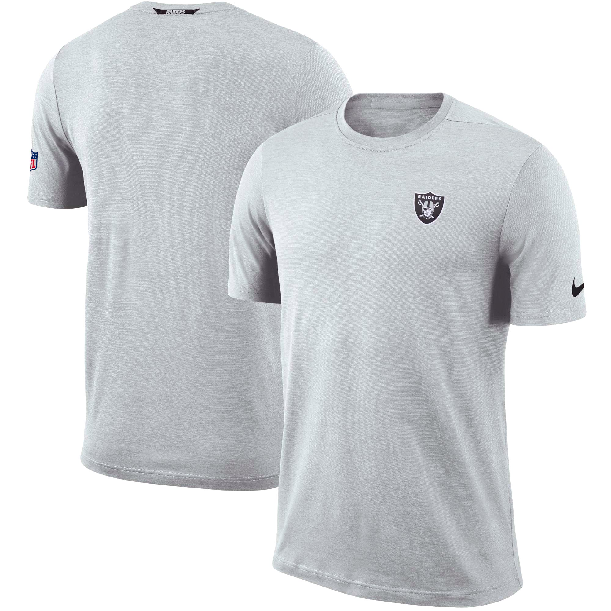 Oakland Raiders Nike Sideline Coaches Logo Performance T-Shirt - Gray