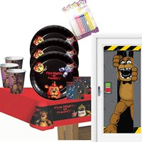 Five Nights at Freddy's Party Supplies Pack Serves 16: LUNCH Plates LUNCH Napkins Cups Table Cover and Door Cover with Birthday Candles (Bundle for 16)