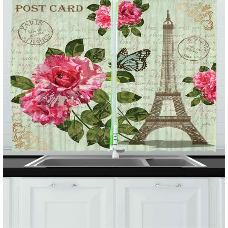 Paris Curtains 2 Panels Set, Shabby Chic Romantic Roses Flowers Leaves with Eiffel Tower and Abstract Lettering, Window Drapes for Living Room Bedroom, 55W X 39L Inches, Multicolor, by Ambesonne