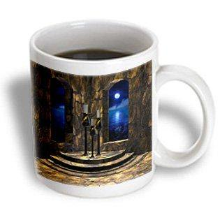 3dRose A medieval castle interior with stone walls, arched windows and a view of the moonlit sea beyond, Ceramic Mug, 11-ounce
