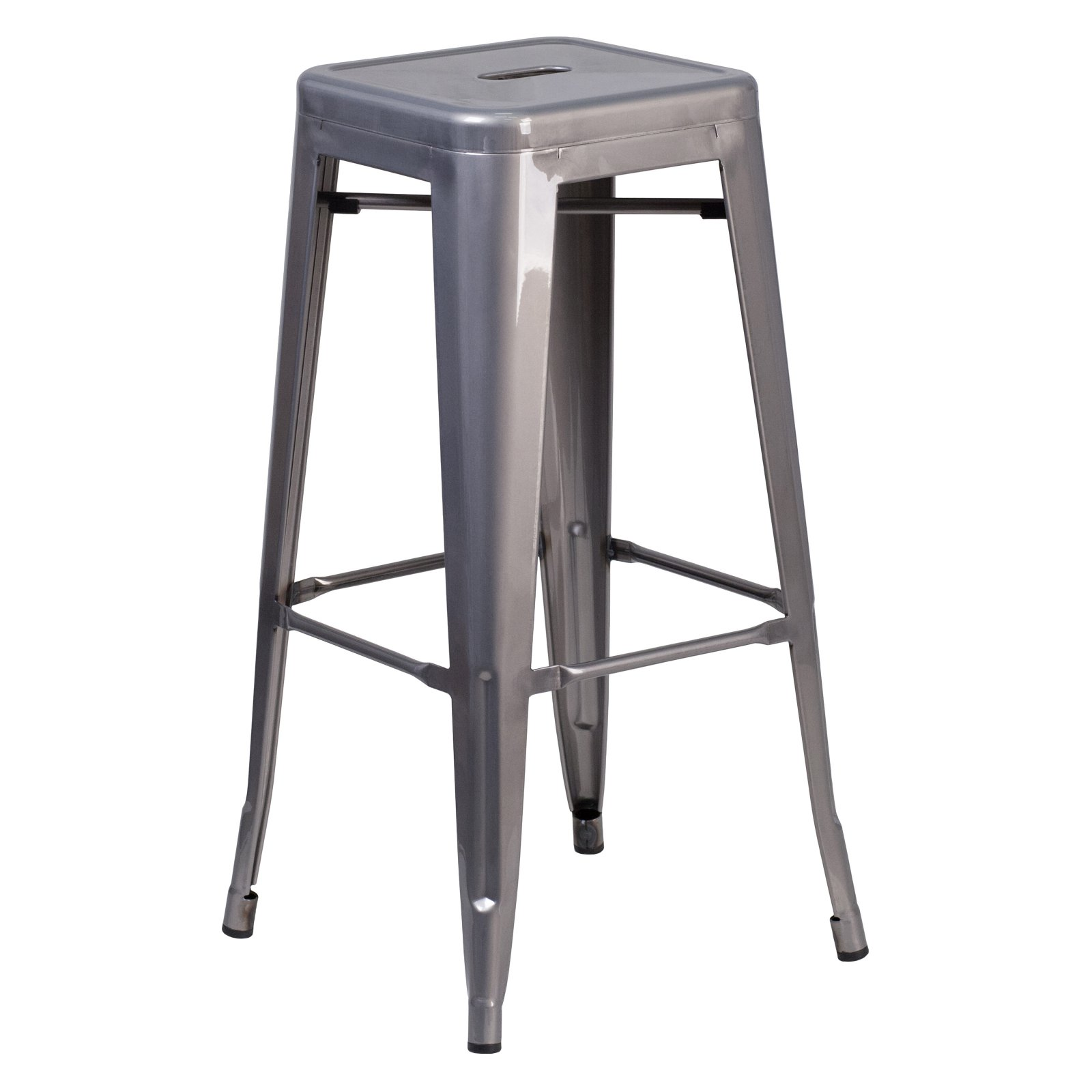 Flash Furniture 30 in. High Backless Clear Coated Metal Indoor Barstool with Square Seat