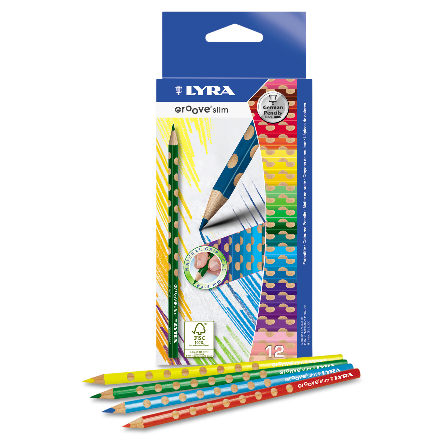 LYRA Groove Slim Colored Pencils, Assorted, 12/Pack