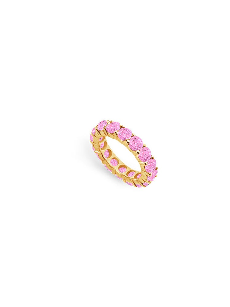 Created Pink Sapphire Eternity Ring Stackable Band 18K Yellow Gold Vermeil. 6ct.tw by Love Bright