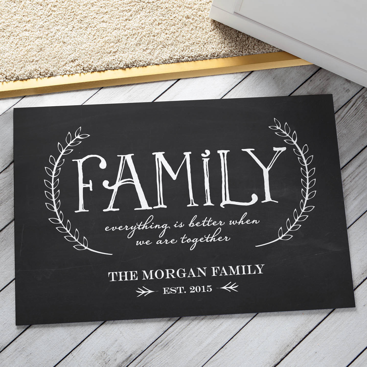 Personalized Our Family Doormat, Gray