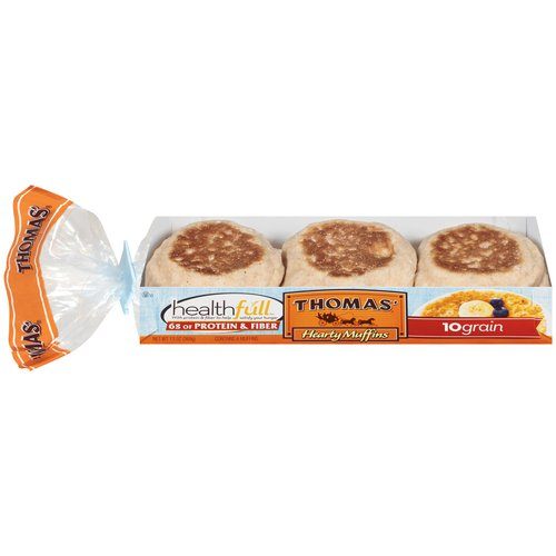 Thomas' Hearty Muffins Healthfull 10 Grain English Muffins, 13 oz, 6ct