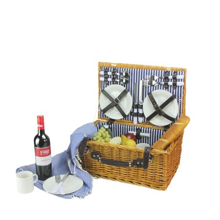 Northlight 4-Person Hand Woven Honey Willow Picnic Basket Set With Accessories