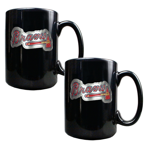 Atlanta Braves 15oz. Coffee Mug Set - Black - No Size