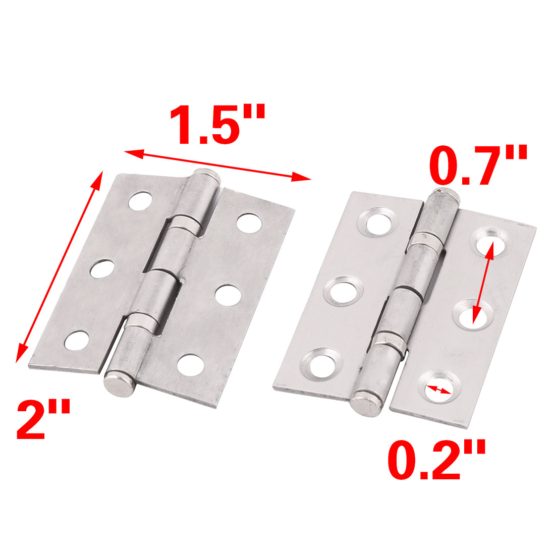 "2"" Length Home School Stainless Steel Cupboard Cabinet Gate Door Hinges 2pcs - image 2 de 4"