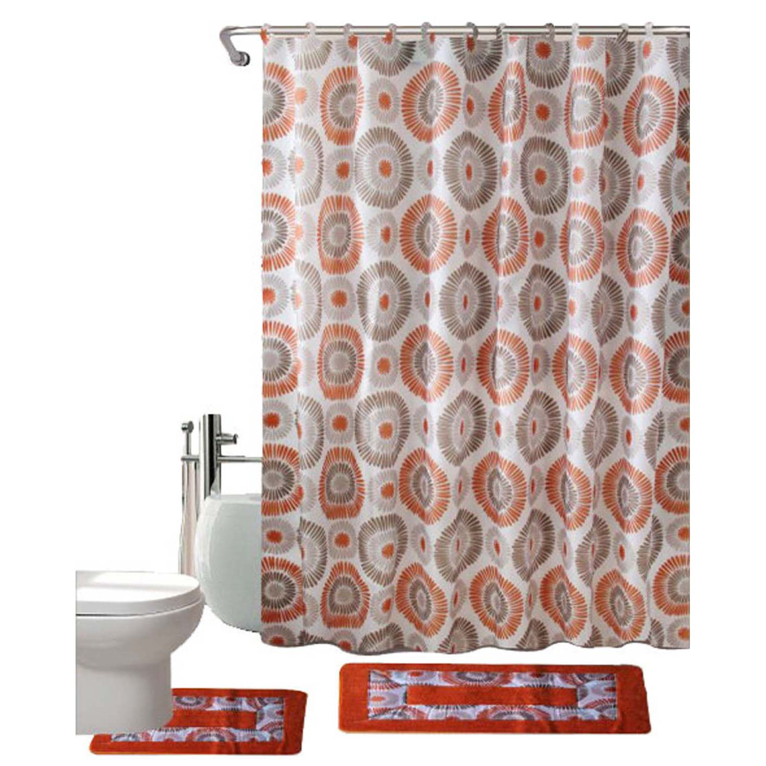 Bath Mat Skylar Orange 15-Piece Printed Bathroom Set Shower Curtain hooks
