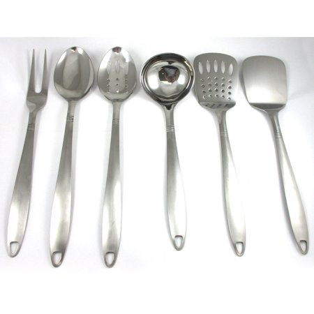 Serving Spoons (6 Stainless Steel Kitchen Cooking Utensil Set Serving Tools Server Spatula)